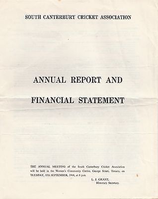 SOUTH CANTERBURY CRICKET ASSOCIATION Annual Report... 1967-68... New Zealand