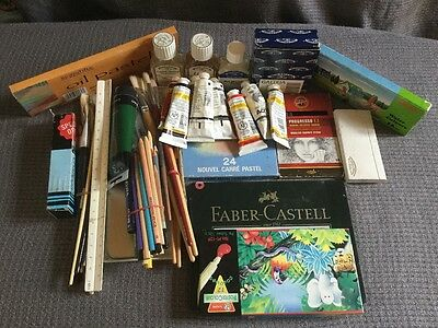 Job lot Art  Painting Drawing Material :Pastel/Pencil/Brush/Charcoal/Palette etc