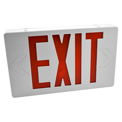 Red & White LED Exit Sign Slim & Low Profile with Battery Backup