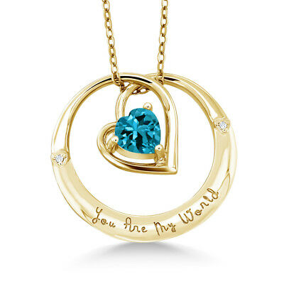 "925 Yellow Gold Plated Silver ""You Are My World"" London Topaz Diamond Pendant"