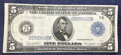 1914 $5 Federal Reserve Note Fr. 871b Tupe B
