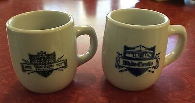 Vintage Lot of 2 White Castle Mayer China Coffee Mugs w Ashtray Bottoms~Nice