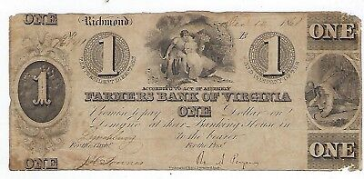 1861 Farmers Bank Of Virginia ($1)One Dollar Bank Note