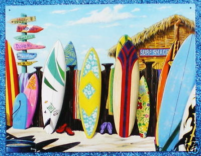 Starting Line-up surfboard with OAHU tin sign