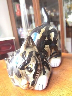 Vintage Kitty figurine, Brown & Black Cat by Mann of Japan