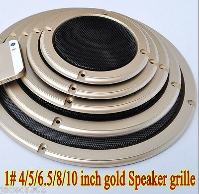 1pcs 1# 2/4/5/6.5/8/10 inch gold Speaker grille Car Subwoofer Masks