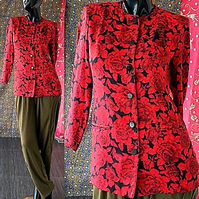 Vintage 80s Disco Party Jacket A J Bari Floral Silk Holiday Cocktail Evening