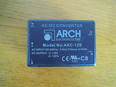 New and unused Arch Electronics AKC-12S AC / DC Power Supply  Convertor.