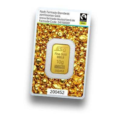 Goldbarren 10 Gramm - Fairtrade Gold - Goldgeschenk - 999.9 Feingold