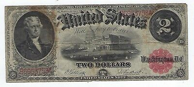 Series Of 1917 United States Red Seal ($2)Two Dollar Bearer Note, #B6953753A