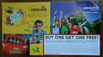 Legoland Buy One Get One B1G1 Free Coupon Admission Expiraion 12/31/2017