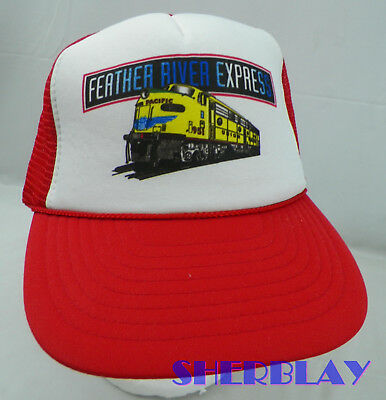Vintage FEATHER RIVER EXPRESS Pacific Railroad Trucker Snapback Hat Cap