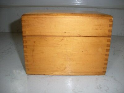 vintage oak wooden dovetailed recipe box with recipes hand written typed clipped