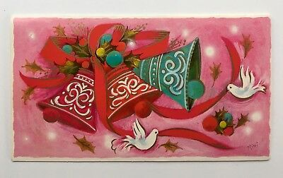 Vintage Pink Christmas Card Red Aqua Bell Ornament Dove Gold Holly Mid Century