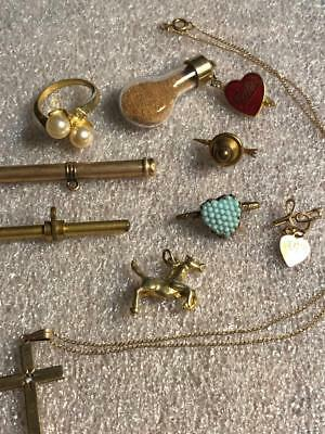 ANTIQUE LOT ASSORT.JEWELLERY Pearls,crystals,glass pendant,earrings,2T-BARS, FOB
