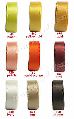 "6y 50mm 2"" Mixed Gold Brown Cream Single Sided Faced Satin Ribbon Eco FREE PP"