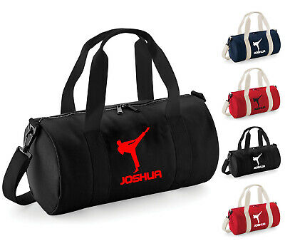 Kids Personalised Roundhouse Kick Karate Gym Bag Martial Arts Boys Sport Holdall