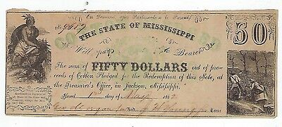 1862 State Of Missippi ($50)Fifty Dollar Promissory Note/Cotton Pledge