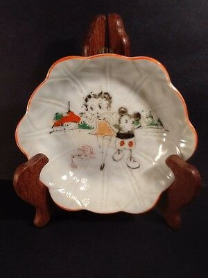 1930's Steamboat Willie Mickey Mouse & Betty Boop Glazed Ceramic Dish
