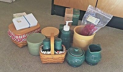 Longaberger Lot of pottery and baskets with liners, plastic protectors EUC