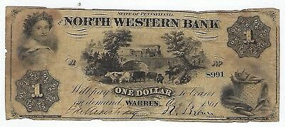 1861 State Of Pennsylvania North Western Bank ($1)One Dollar  #8991