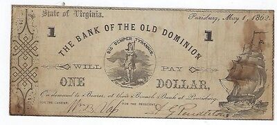 1862 State Of Virginia Pearisburg Bank Of The Old Dominion ($1)One Dollar Note