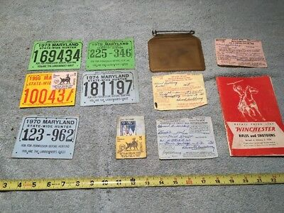 lot of maryland hunting license + winchester 1954 catalog - $50.00
