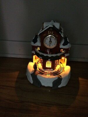Santa Workshop Christmas Clock With train around base Gift Collectible New USA