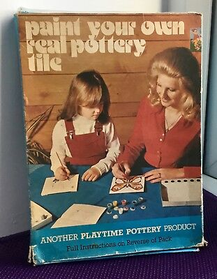 Vintage Paint your own real pottery tile