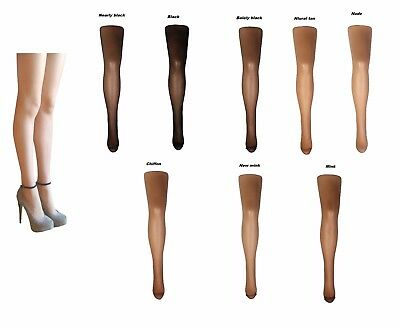 15 Denier Sheer Tights Luxury Plain Soft Knit Pantyhose Nude-Natural 2 pair pack