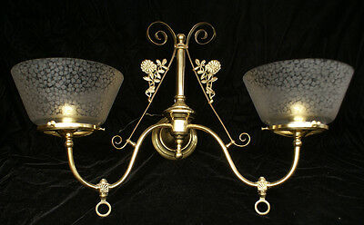 2-arm Aesthetic Gas Sconce 1880's Etched Shades Fixture Lamp Light