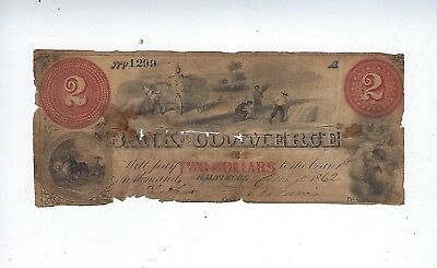 1862 Bank Of Commerce ($2)Two Dollar Bearer Note, Baltimore