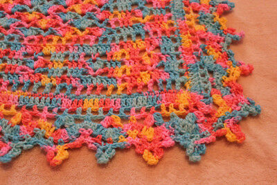 "STUNNING MULTI-COLORED CROCHETED BABY BLANKET 28""x36"" WITH A PICOT BORDER"