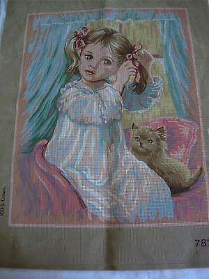 "Little Girl & Cat unstitched Needlepoint Canvas 15"" x 19"""