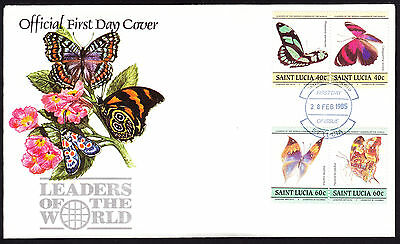 1985 St Lucia Leaders of the World First Day Cover Butterflies Butterfly FDC FDI