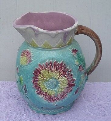Large Antique Victorian Majolica Floral Jug / Pitcher