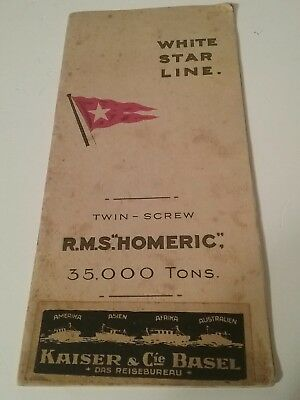 "1922 WHITE STAR LINE. twin-screw R.M.S.""HOMERIC"",35,000 Tons brochure"
