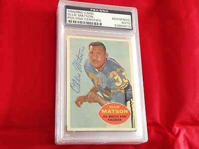 Ollie Matson Rams Autographed 1960 Topps Football Card Psa/dna Slabbed