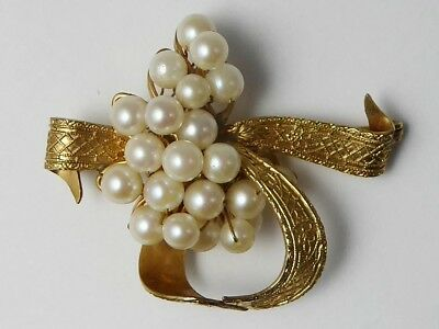 Vintage C1960s 12ct Gold Filled & Cultured Pearl Floral Bouquet Brooch