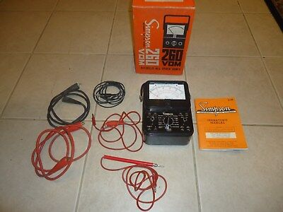 Vintage SIMPSON 260 VOM Multimeter w/ In Original Box Manaul and test Leads