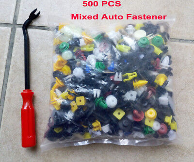 500Pcs Push Pin Mixed Door Trim Panel Clip Fastener Bumper Rivet Retainer w/tool