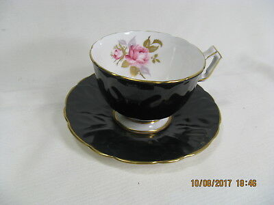 Aynsley English Bone China Teacup and Saucer. Black with interior rose