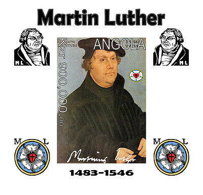 Angola 6 Sheets Imperf Deluxe Mng Martin Luther Lutero