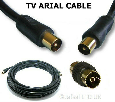 Coaxial Tv Arial Lead Cable Male To Male & Adapter/coupler 1M,1.8M,3M,5M,10M&20M