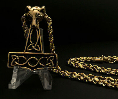 Gold Heavy Viking Thor's Hammer Pendant Mjolnir on THICK CHAIN Celtic Necklace