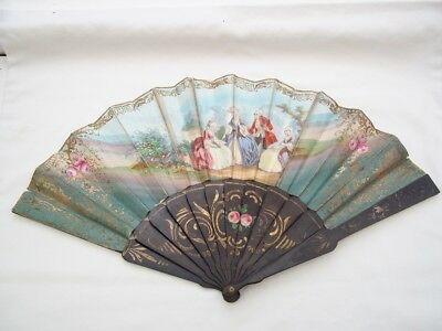 Antique Vintage Ladies Fan Wooden Sticks and Paper 18th Century Style Ladies.