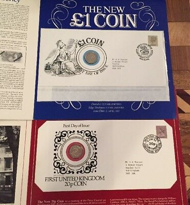 First Day Issue Stamp And Coin United Kingdom 1 Pound And 20 Pence Coins 1982 83