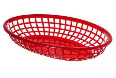 Update International BB96R Oval Fast Food Baskets Set of 12 Tabletop Accessories