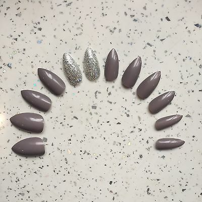 Grey And Silver Glitter Hand Painted Stiletto False Nails (12 Nails)