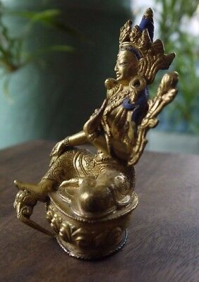 A Sino-Tibetan gilt bronze Tara. Sealed base incised with a double varja  C19th?